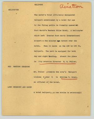 Primary view of object titled '[News Script: Heliport]'.