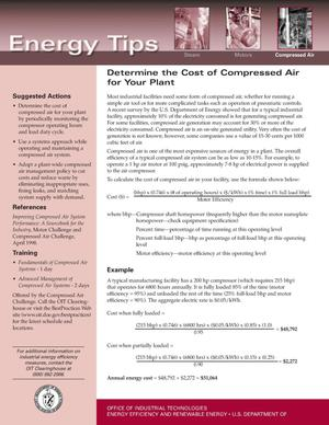 Primary view of object titled 'Determine the Cost of Compressed Air for Your Plant'.
