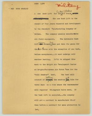 Primary view of object titled '[News Script: Bomb lift]'.