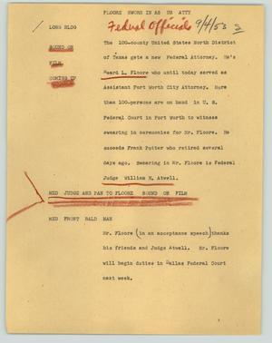 Primary view of object titled '[News Script: Floore sworn in as U.S. atty.]'.