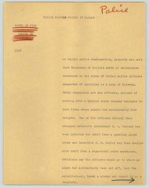 Primary view of object titled '[News Script: Police scandal probed in Dallas]'.