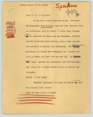 Primary view of object titled '[News Script: Gilmore warns of red tricks]'.