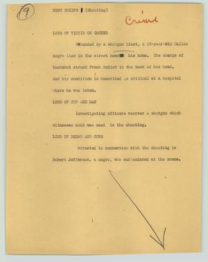 Primary view of object titled '[News Script: News briefs (shooting)]'.