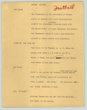 Primary view of object titled '[News Script: Kansas arrives]'.