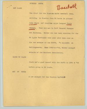 Primary view of object titled '[News Script: Houston Buffs]'.