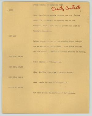 Primary view of object titled '[News Script: Queen chosen at Mesquite fair]'.