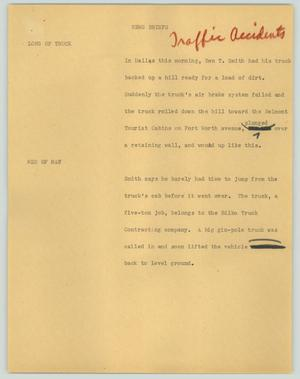 Primary view of object titled '[News Script: News briefs - Traffic accident]'.