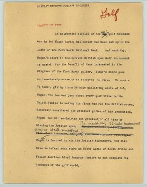 Primary view of object titled '[News Script: Display reports Hogan's progress]'.