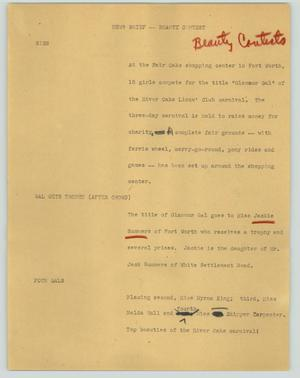 Primary view of object titled '[News Script: News brief -- beauty contest]'.