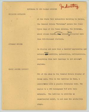 Primary view of object titled '[News Script: Motorama to end Dallas showing]'.