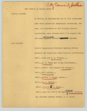 Primary view of object titled '[News Script: New council at Dallas sworn in]'.