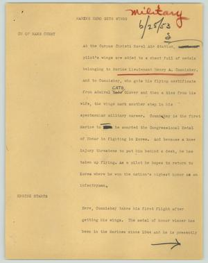 Primary view of object titled '[News Script: Marine hero gets wings]'.