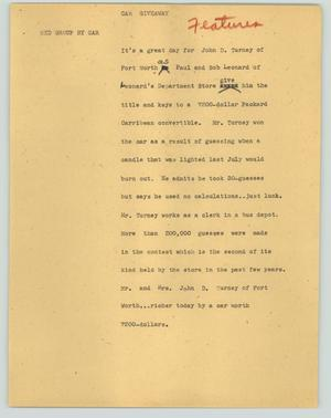 Primary view of object titled '[News Script: Car giveaway]'.