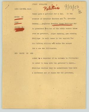 Primary view of object titled '[News Script: Jimmy Phillips]'.