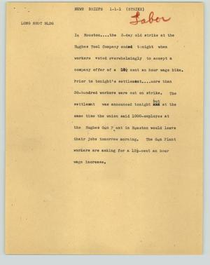 Primary view of object titled '[News Script: News briefs (strike)]'.