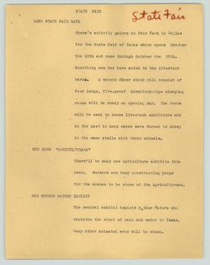 Primary view of object titled '[News Script: State Fair]'.