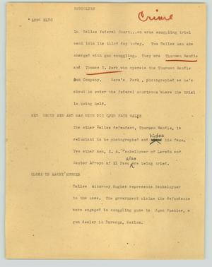 Primary view of object titled '[News Script: Smugglers]'.