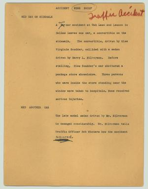 Primary view of object titled '[News Script: Accident news brief]'.