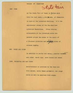 Primary view of object titled '[News Script: Parade of Champions]'.