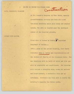 Primary view of object titled '[News Script: Ground is broken for nurses home]'.