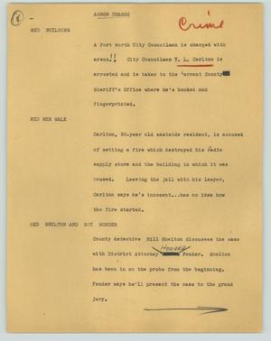 Primary view of object titled '[News Script: Arson charge]'.