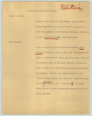 Primary view of object titled '[News Script: Stripling addresses GOP meet]'.