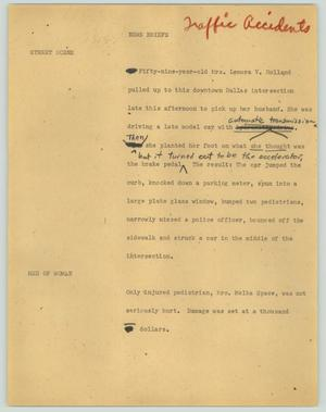 Primary view of object titled '[News Script: News briefs (traffic accidents]'.
