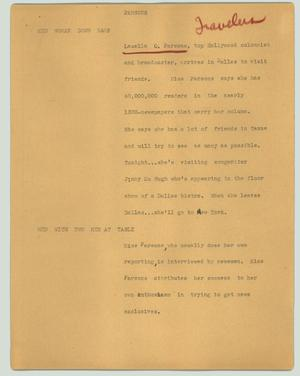 Primary view of object titled '[News Script: Parsons]'.