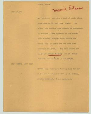 Primary view of object titled '[News Script: Movie stars]'.
