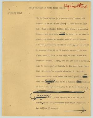 Primary view of object titled '[News Script: Wheat harvest in North Texas begins]'.