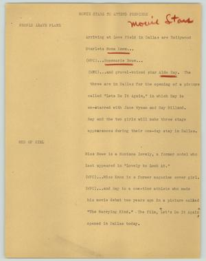 Primary view of object titled '[News Script: Movie stars to attend premiere]'.