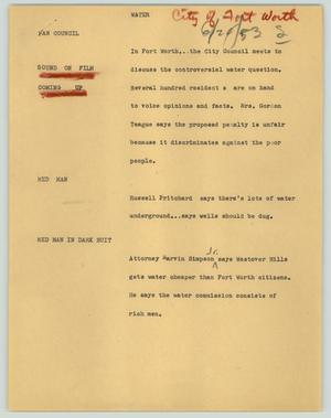 Primary view of object titled '[News Script: Water (city of Fort Worth)]'.