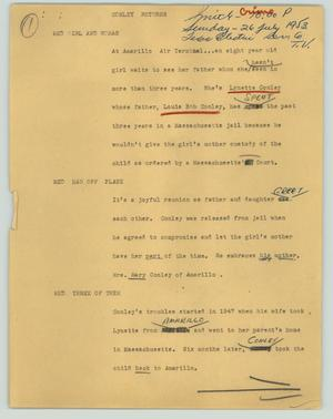 Primary view of object titled '[News Script: Conley returns]'.
