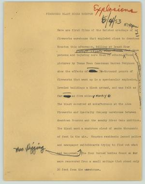 Primary view of object titled '[News Script: Fireworks blast rocks Houston]'.