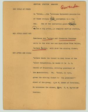 Primary view of object titled '[News Script: Service station awarded]'.