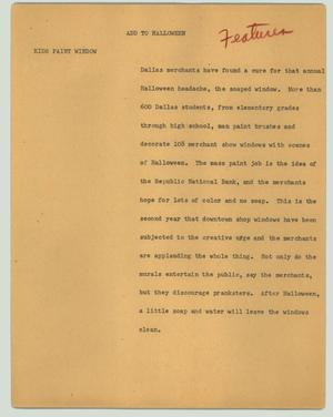 Primary view of object titled '[News Script: Add to Halloween]'.