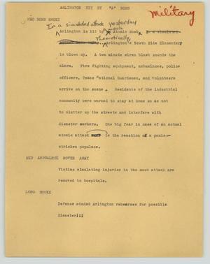 "Primary view of object titled '[News Script: Arlington hit by ""A"" bomb]'."