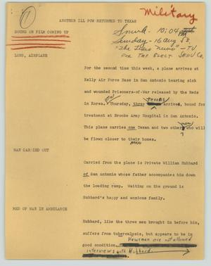Primary view of object titled '[News Script: Another ill POW returned to Texas]'.