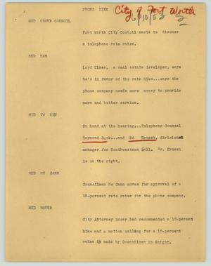 Primary view of object titled '[News Script: Phone hike]'.