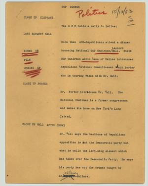 Primary view of object titled '[News Script: GOP dinner]'.