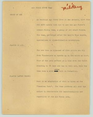 Primary view of object titled '[News Script: Air Force stunt team]'.