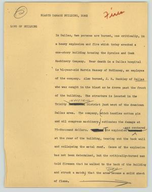 Primary view of object titled '[News Script: Blasts damage building, home]'.
