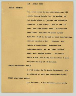Primary view of object titled '[News Script: San Angelo blow]'.