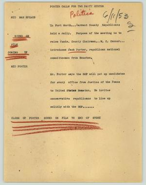 Primary view of object titled '[News Script: Porter calls for two party systerm]'.