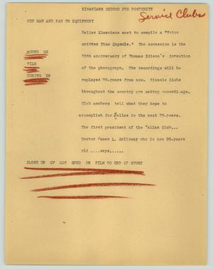 Primary view of object titled '[News Script: Kiwanians record for posterity]'.