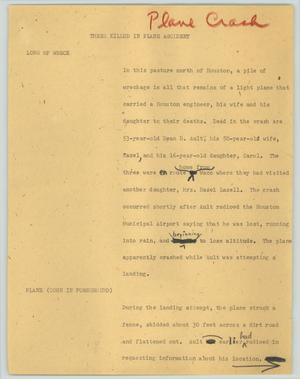 Primary view of object titled '[News Script: Three killed in plane accident]'.
