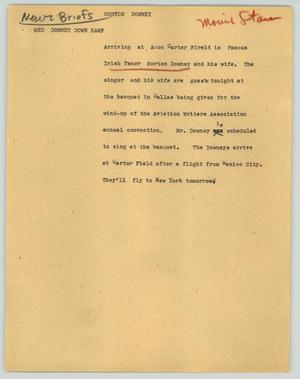 Primary view of object titled '[News Script: Morton Downey]'.