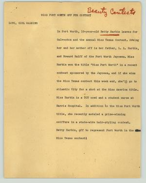 Primary view of object titled '[News Script: Miss Fort Worth off for contest]'.