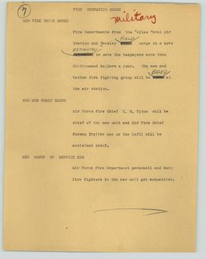 Primary view of object titled '[News Script: Fire companies merge]'.