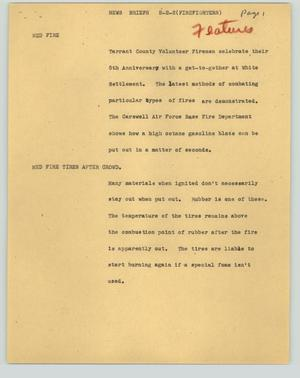 Primary view of object titled '[News Script: News briefs (fire fighters)]'.